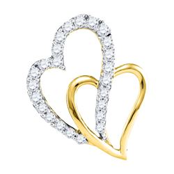 0.37 CTW Diamond Double Heart Pendant 10KT Yellow Gold - REF-34X4Y