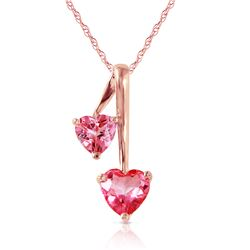 Genuine 1.40 ctw Pink Topaz Necklace Jewelry 14KT Rose Gold - REF-24F3Z