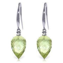 Genuine 19.1 ctw Green Amethyst & Diamond Earrings Jewelry 14KT White Gold - REF-41N3R