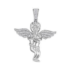 0.50 CTW Mens Diamond Praying Angel Cherub Charm Pendant 10KT White Gold - REF-52W4K