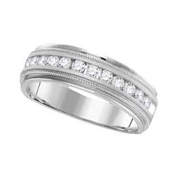 0.49 CTW Mens Channel-set Diamond Milgrain Edge Wedding Ring 14KT White Gold - REF-67M4H
