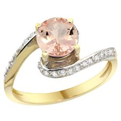 Natural 0.94 ctw morganite & Diamond Engagement Ring 14K Yellow Gold - REF-56N2G