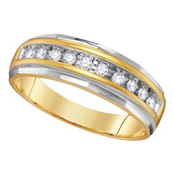 0.25 CTW Mens Diamond Single Row Grooved Wedding Ring 14KT Two-tone Gold - REF-44H9M