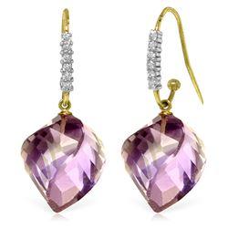 Genuine 21.68 ctw Amethyst & Diamond Earrings Jewelry 14KT Yellow Gold - REF-61W3Y