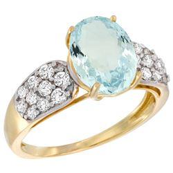 Natural 2.45 ctw aquamarine & Diamond Engagement Ring 14K Yellow Gold - REF-68G4M