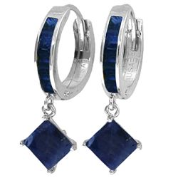 Genuine 4.2 ctw Sapphire Earrings Jewelry 14KT White Gold - REF-70R3P
