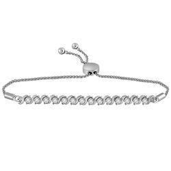 0.50 CTW Pave-set Diamond Single Row Bolo Bracelet 10KT White Gold - REF-89X9Y