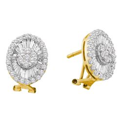 1.6 CTW Diamond French-clip Oval Earrings 14KT Yellow Gold - REF-104Y9X