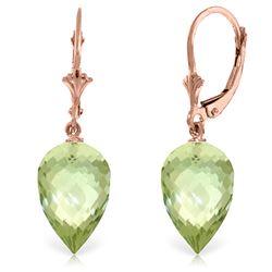 Genuine 19 ctw Green Amethyst Earrings Jewelry 14KT Rose Gold - REF-35M9T