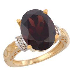 Natural 5.53 ctw Garnet & Diamond Engagement Ring 10K Yellow Gold - REF-53M5H