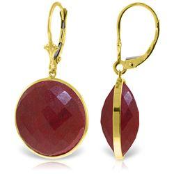 Genuine 46 ctw Ruby Earrings Jewelry 14KT Yellow Gold - REF-62W3Y