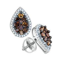 0.99 CTW Brown Color Diamond Teardrop Cluster Earrings 10KT White Gold - REF-41K9W