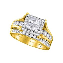 1.5 CTW Princess Diamond Square Halo Bridal Engagement Ring 14KT Yellow Gold - REF-172N4F