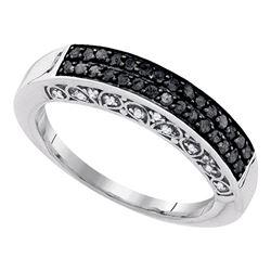 0.51 CTW Black Color Diamond Ring 10KT White Gold - REF-30F2N