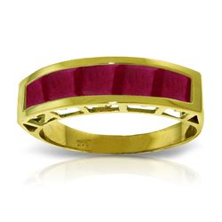 Genuine 2.5 ctw Ruby Ring Jewelry 14KT Yellow Gold - REF-60M7T