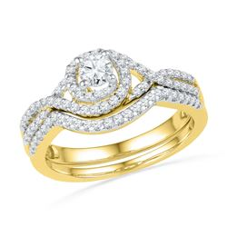 0.63 CTW Diamond Bridal Wedding Engagement Ring 10KT Yellow Gold - REF-57H2M