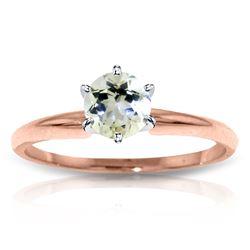 Genuine 0.65 ctw Aquamarine Ring Jewelry 14KT Rose Gold - REF-28W8Y