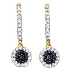 0.50 CTW Black Color Diamond Hoop Flower Dangle Earrings 10KT Yellow Gold - REF-34W4K