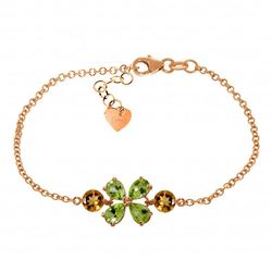 Genuine 3.15 ctw Peridot & Citrine Bracelet Jewelry 14KT Rose Gold - REF-56V4W