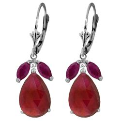 Genuine 11 ctw Ruby Earrings Jewelry 14KT White Gold - REF-97H2X