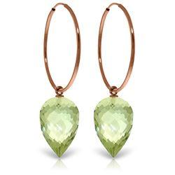 Genuine 19 ctw Amethyst Earrings Jewelry 14KT Rose Gold - REF-38V6W