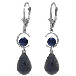 Genuine 18.6 ctw Sapphire Earrings Jewelry 14KT White Gold - REF-49A2K