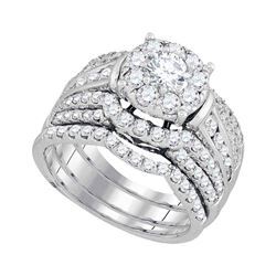 2.38 CTW Diamond Halo Bridal Engagement Ring 14KT White Gold - REF-330M2H