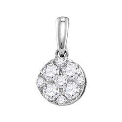 0.50 CTW Diamond Cluster Pendant 14KT White Gold - REF-52M4H