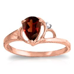 Genuine 0.66 ctw Garnet & Diamond Ring Jewelry 14KT Rose Gold - REF-31N4R