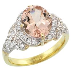 Natural 3.42 ctw morganite & Diamond Engagement Ring 14K Yellow Gold - REF-126F3N