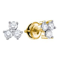 0.56 CTW Diamond Stud Earrings 14KT Yellow Gold - REF-57N2F