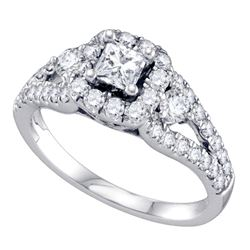 1.25 CTW Princess Diamond Solitaire Halo Bridal Engagement Ring 14KT White Gold - REF-165H2M