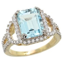 Natural 3.51 ctw blue-topaz & Diamond Engagement Ring 14K Yellow Gold - REF-100F9N