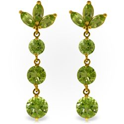 Genuine 8.7 ctw Peridot Earrings Jewelry 14KT Yellow Gold - REF-53V6W