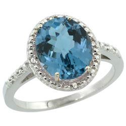 Natural 2.42 ctw London-blue-topaz & Diamond Engagement Ring 10K White Gold - REF-26H2W
