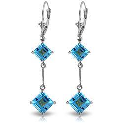 Genuine 3.75 ctw Blue Topaz Earrings Jewelry 14KT White Gold - REF-30Z6N