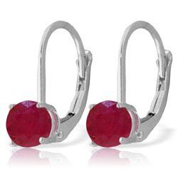 Genuine 1.20 ctw Ruby Earrings Jewelry 14KT White Gold - REF-27V2W
