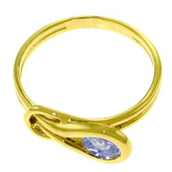 Genuine 0.65 ctw Tanzanite Ring Jewelry 14KT Rose Gold - REF-52K7V