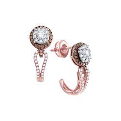 0.73 CTW Diamond J Half Hoop Cluster Earrings 14KT Rose Gold - REF-89F9N