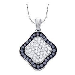 0.99 CTW Black Color Diamond Cluster Pendant 10KT White Gold - REF-31K4W