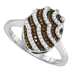 0.33 CTW Cognac-brown Color Diamond Cluster Ring 10KT White Gold - REF-24F2N