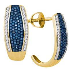0.51 CTW Blue Color Diamond Half J Hoop Earrings 10KT Yellow Gold - REF-52W4K