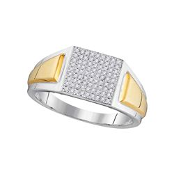 0.25 CTW Mens Diamond Square Cluster Ring 10KT Two-tone Gold - REF-40F4N