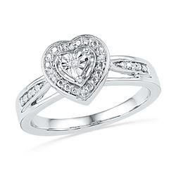 0.03 CTW Diamond Heart Love Ring 10KT White Gold - REF-22M4H