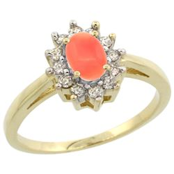 Natural 0.67 ctw Coral & Diamond Engagement Ring 14K Yellow Gold - REF-47G7M