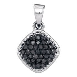 0.25 CTW Black Color Diamond Cluster Pendant 10KT White Gold - REF-11H2M
