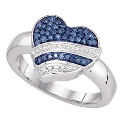 0.33 CTW Blue Color Diamond Heart Ring 10KT White Gold - REF-36K2W