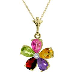 Genuine 2.22 ctw Pink Topaz, Citrine & Amethyst & Diamond Necklace Jewelry 14KT Yellow Gold - REF-30