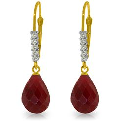 Genuine 17.75 ctw Ruby & Diamond Earrings Jewelry 14KT Yellow Gold - REF-41R6P