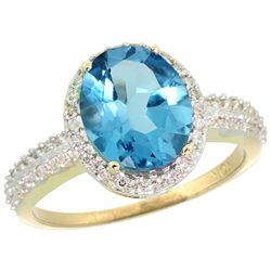 Natural 2.56 ctw Swiss-blue-topaz & Diamond Engagement Ring 14K Yellow Gold - REF-42H2W